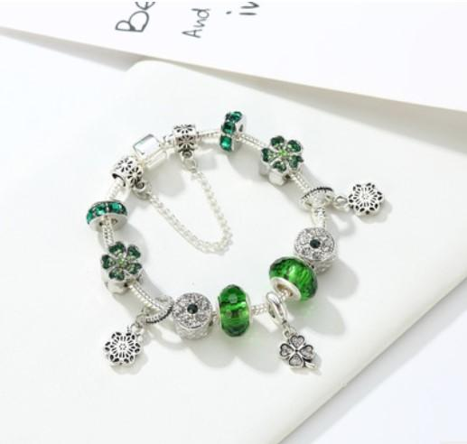 925 Sterling Silver Murano Lampwork Glass & Green Crystal Flower European Charm Beads Four Leaf Clover Pendant Fits Pandora Charm bracelets