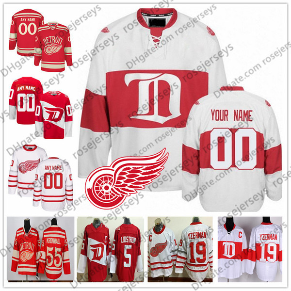 Customized Detroit Red Wings Hockey Men Women Youth Kid OLD BRAND White Third Winter Classic Stadium Series Centennial Vintage Jersey 4XL
