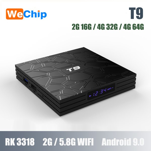 Wechip Smart Android T9 RK3318 Android 9.0 2.4G 5.8G double Wifi Décodeur 4G 64G BT 4.0 18 1080PHD support 3D