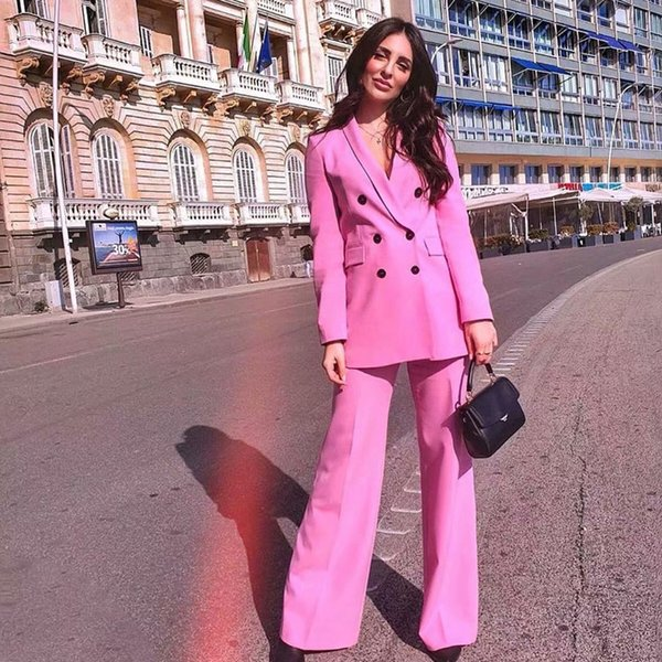 Fandy Lokar Pink Sexy V Neck Suit Jacket Women Fashion Long Sleeve Suit Women Elegant Tailored Collar Jacket Suits Female Ladies MX190809