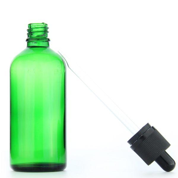 E-liquids essential oil glass bottles 100ml amber/blue/green dropper bottle 100ml black child safety caps straight sharp top pipette