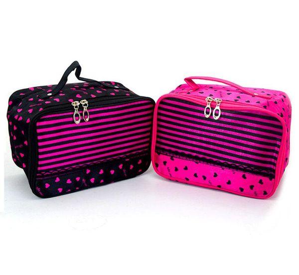 Waterproof women cosmetics bag love pattern lace square home, travel organizer storage make up tote bag