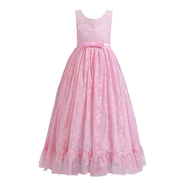 Puffy Lace Flower Girl Dresses Lovely First Communion Dresses For Girls With Appliqued Flower Kids Evening Gowns MC1884