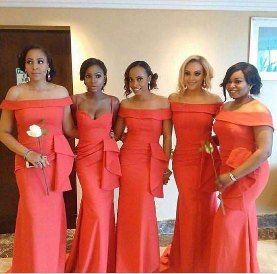 South African Black Girls Coral Bridesmaid Dresses 2019 Peplum Ruched Off Shoulder Spaghetti Wedding Guest For Bride Maid Of Honor Party
