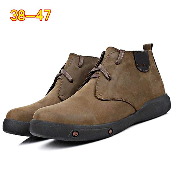 High Quality Vintage Genuine Leather Men Boots Winter Ankle Boots Warm Fur Lace Up High Top Fashion Men Shoes moccasin boots 2a