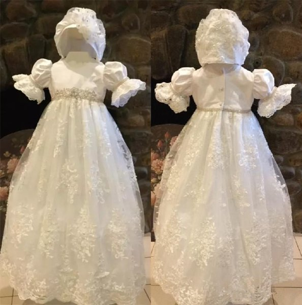 Cute Ivory White First Communion Dresses Puff Sleeve Custom Made Lace Applique Beads Belt Jewel Neck Hat A Line Pageant Gowns with Hat 137