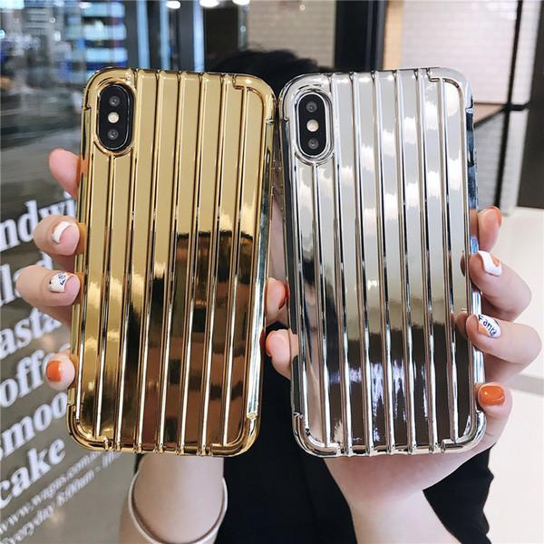 Custodia per telefono valigia curva placcatura argento di lusso per iPhone XR XS MAX X Custodia in metallo per lucentezza per iPhone 7 8 Plus 6 6s Cover in silicone