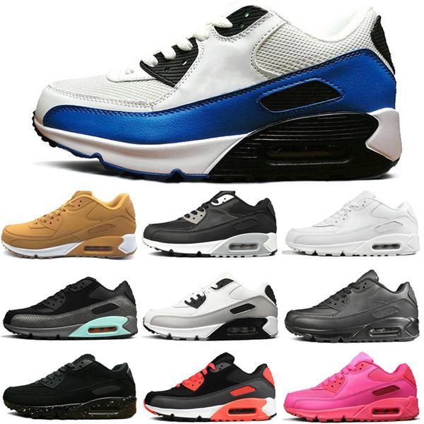 nike air max 90  Erkek Tasarımcı Koşu Ayakkabıları Moda Kızılötesi Üçlü Beyaz Pembe Siyah Croc Marka Açık koşu Eğitmeni Kadın Spor Sneakers 36-45
