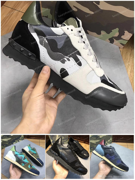 New Color Camo Suede Studded Camouflage Rock Runner Sneaker Shoes For Women Men Stud Casual Luxury Designer Shoes Sneakers chaussures