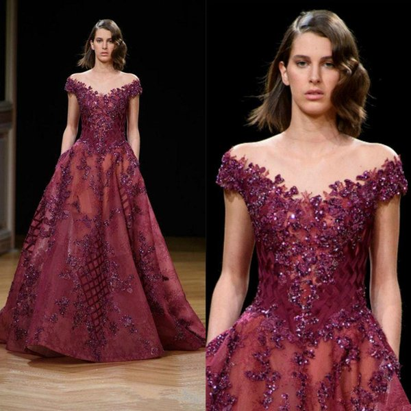 Burgundy Lace Crystal Prom Dresses Ziad Nakad Sheer Off Shoulder Dubai Arabic Plus Size Celebrity Evening Gowns