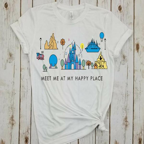 new meet me at my happy place shirt animal kingdom tee plus size girls tops summer tshirt harajuku print tees cartoon