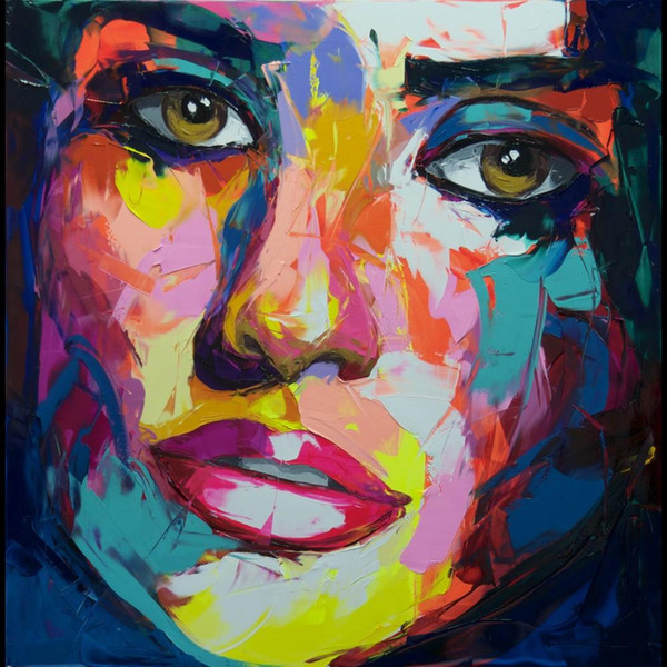 Francoise Nielly Palette Knife Impression Home Artworks Modern Portrait Handmade Oil Painting on Canvas Concave and Convex Texture Face170