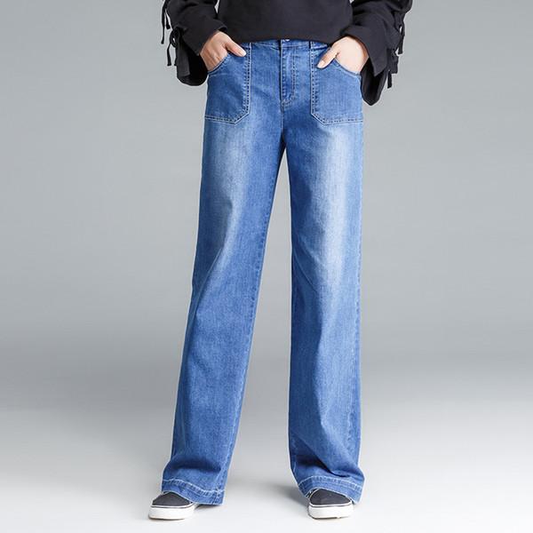 Womans Clothing Fashionable New Wide Leg Jeans Women Vintage Loose Mom Jeans Pockets Korean Streetwear