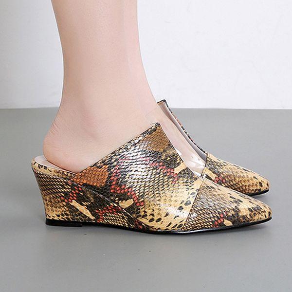 YOUYEDIAN kadın Sığ Sivri Burun Kama Terlik Rahat Kapalı Toe Ayakkabı Iş Sandalet sandales femme 2019 nouveau # 3