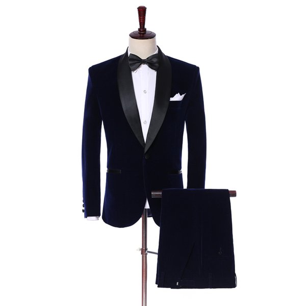 Men Wedding Suits 2019 New Brand Design Real Groomsmen White Shawl Lapel Groom Tuxedos Mens Tuxedo Wedding/Prom Suits 2 Pieces