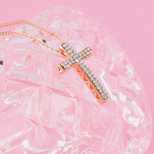 Alta qualità d'avanguardia croce pendente collana in oro rosa Full Color zirconi catena Necklace Fashion Jewelry Choker XL293