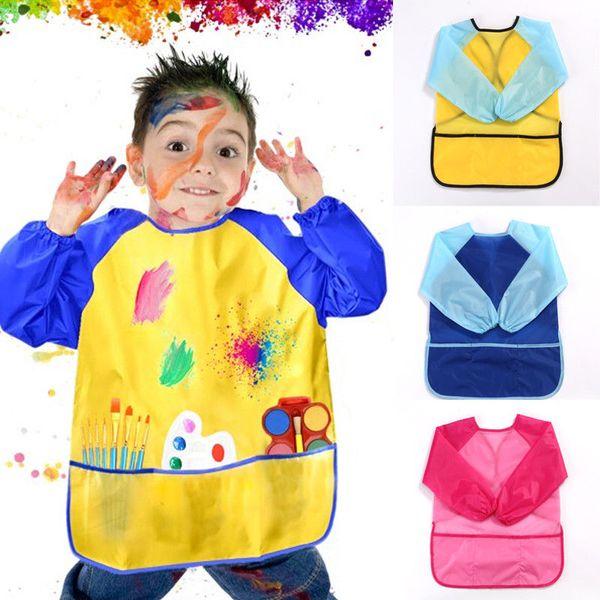Дети Art Смок Водонепроницаемый Фартук с длинным рукавом Картина Craft Cooking Девочки Мальчики Карманный РУКАВАМИ Фартук