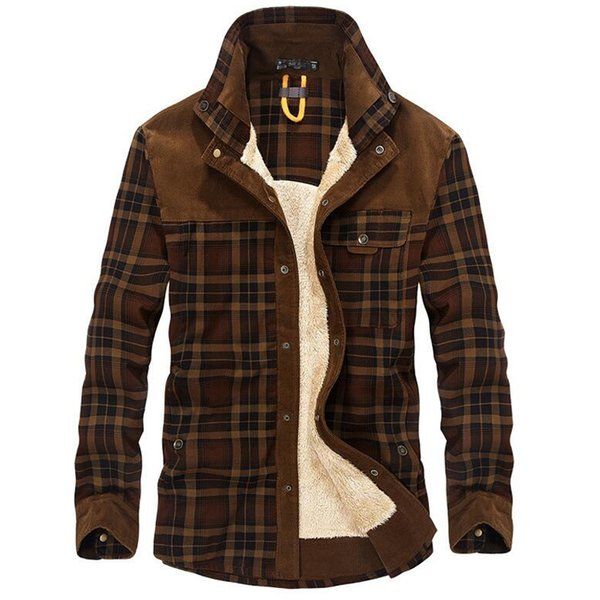 100% Cotton Liner Fleece Casual Men Winter Thick Wool Turn Down Plaid Shirts Coat Men's Long Sleeve Shirt Military Jackets SH190816