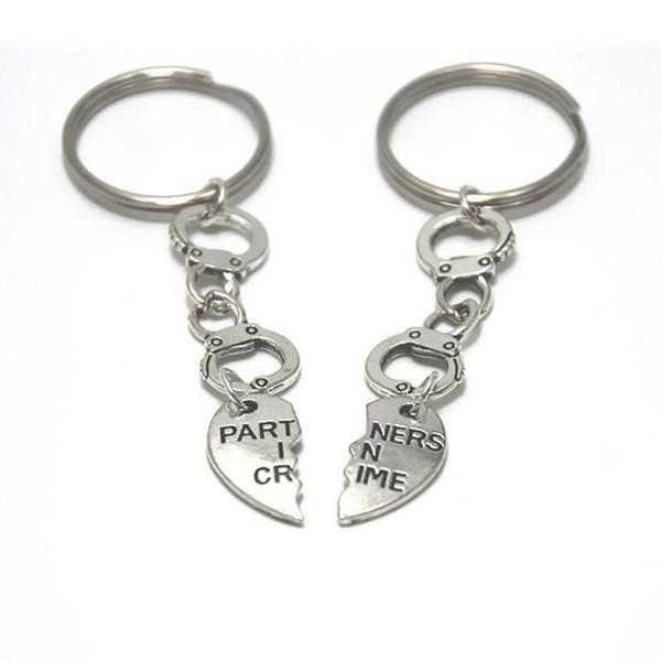 BFF Suç Kelepçeleri Ortakları Anahtarlık Vintage Özgürlük Best Friends Forever Çift Anahtarlıklar Yüzük Anahtarları Araba Çanta ...