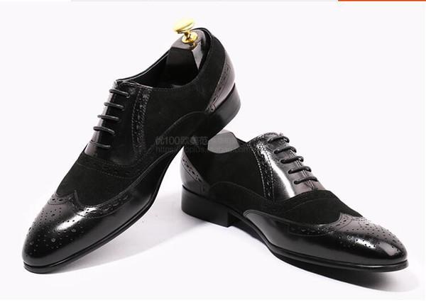 Patch homens de couro vestido de casamento oxfords sapatos lace up de alta qualidade dos homens de negócios formais sapatos primavera única condução oxfords