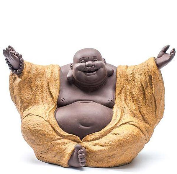 Fine Ceramic Buddha Maitreya Sculpture Pottery Ornament Belly Laughter Buddha Home Furnishing Creative Craft Gift Art Work