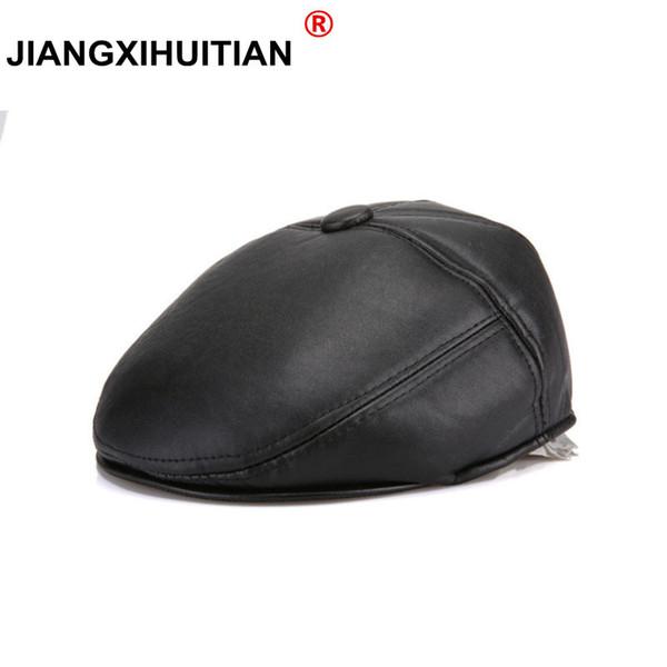 2017 nouveau artificielle Automne Hiver PU cuir Beret Chapeaux Homme Femme Visor Caps plat Boina 2 couleurs solides peuvent Adjustable Cap