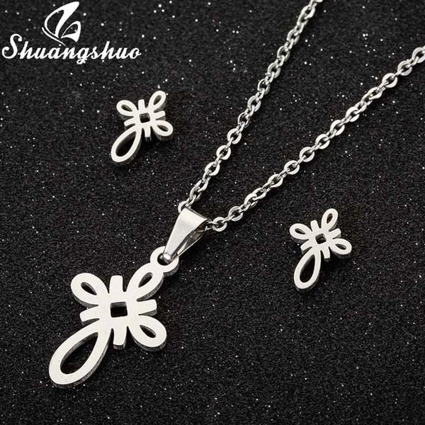 Shuangshuo noeud chinois collier pendentif ethnique femmes Boucles d'oreilles en acier inoxydable éternel noeud bijoux collier Désherbage Cadeaux