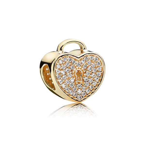 NEW 100% 925 Sterling Silver 1:1 Authentic 750833CZ GOLD HEART LOCK CHARM Beaded DIY Bracelet Original Women Jewelry Gift