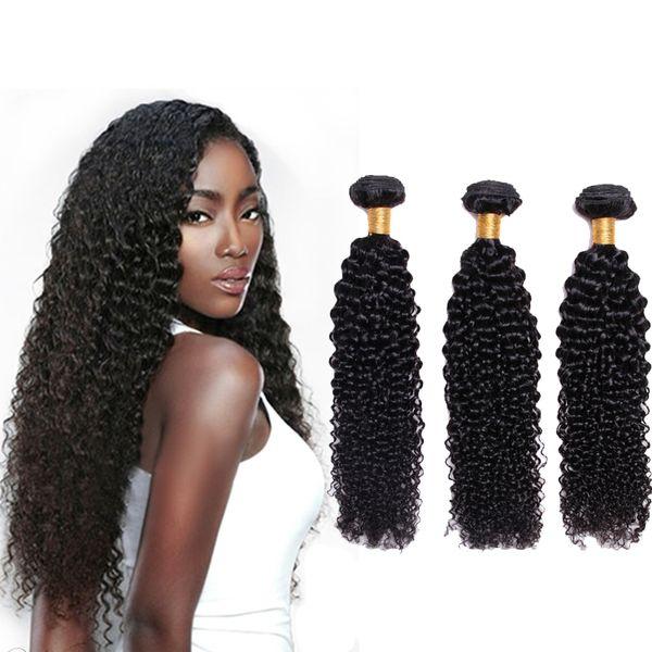 Fasci di capelli ricci vergini brasiliani Tessuto 8A Fasci di capelli ricci crespi brasiliani non trattati 100% Colore naturale