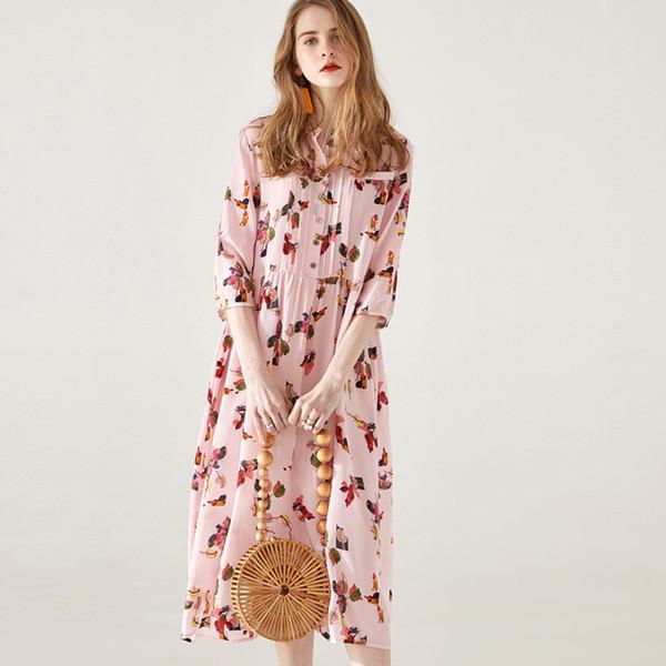 Шелковое платье высокого класса для женщин 2019 Лето Новая мода с длинным темпераментом и талией для похудения Цветочное шелковое платье (M-2XL)