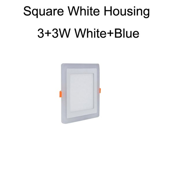 Square White Housing 3+3W White+Blue