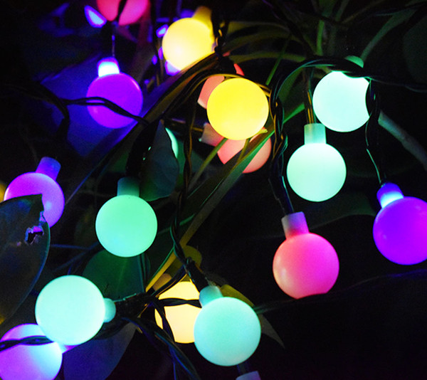 Christmas String Lights.Solar Outdoor String Lights 30 Led Waterproof Ball Christmas Lamps Solar Powered Starry Fairy Light For Garden Yard Home Parties Outside String Lights