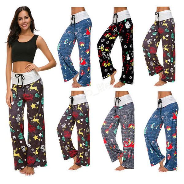 best selling Floral Wide Leg Pants Elastic Waist Stripe Palazzo Capris Lady Sport Loose Long Pants Women Trousers Fitness Yoga LJJA2776