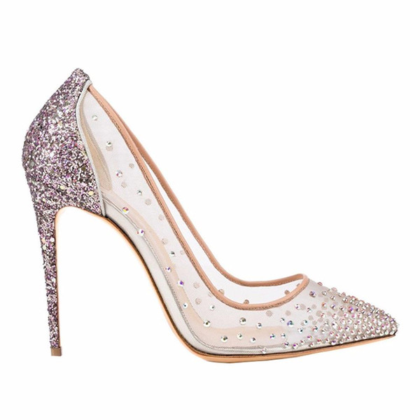 2019 printemps été talons hauts 12cm talons aiguilles bling bling cristal clair maille pompes chaussures de soirée de mariage grande taille