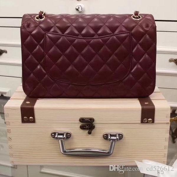 SXCF Luxury Classical Woc Tasche Brieftasche Auf Kette Frauen Echtes Lackleder Mini Flap Messenger Bags Designer Handtaschen 33814
