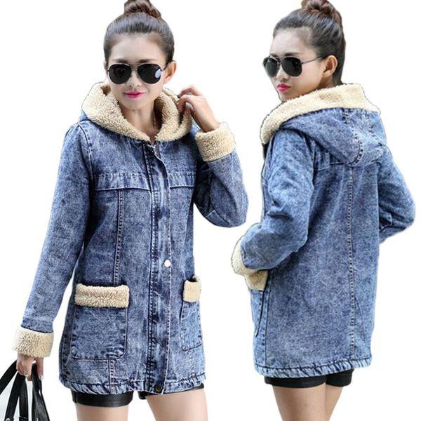 Female jacket Warm winter Denim jacket for women 2018 Hooded Wool lining women jean Coat Bomber jackets basic tops