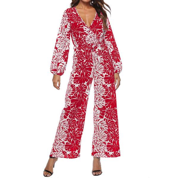Jumpsuits For Women 2019 Romper Print Chiffon Loose V Neck Elegant Wide Leg Women Bohemian Ropa De Mujer