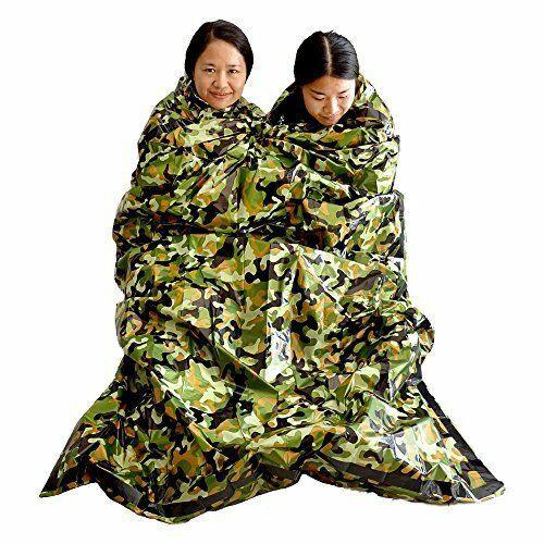 Camuflaje Supervivencia Saco de dormir de emergencia Mantener caliente Impermeable Mylar Primeros auxilios Manta de emergencia Acampar al aire libre LJJM1884