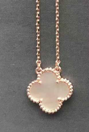 rose gold+white necklace