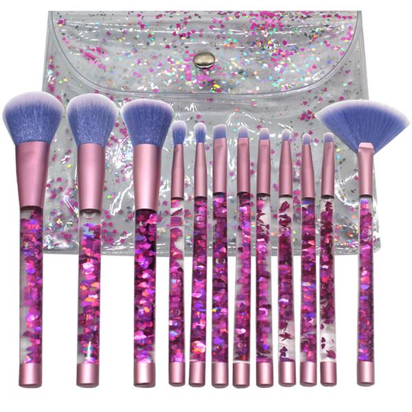 JIEFUXIN 12/7pcs Crystal Makeup Brush sets Glitter Concealer Make up Brush Powder liquid Blusher Shading Eyeshadow Brush