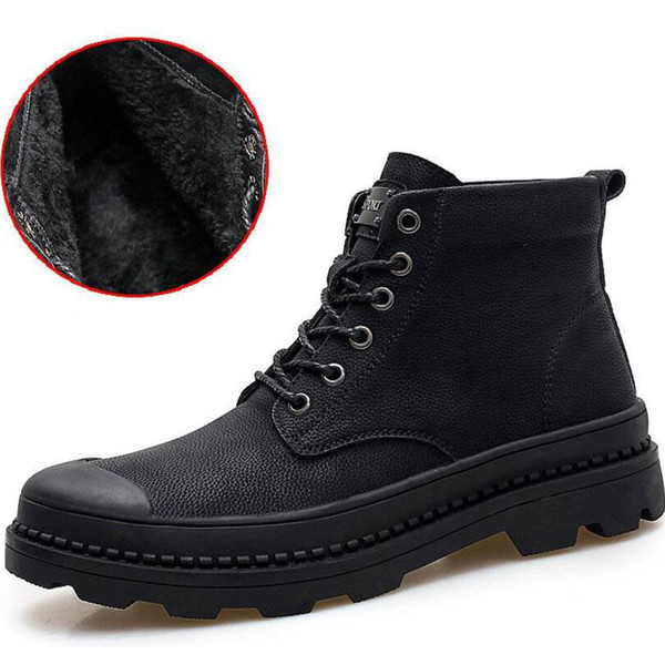 Plus velvet 34-46 big size 2019 Luxury Brand Ankle Boots Low Heel Martin Boot Motorcycle Boots Genuine Leather Boots For couple Man Women