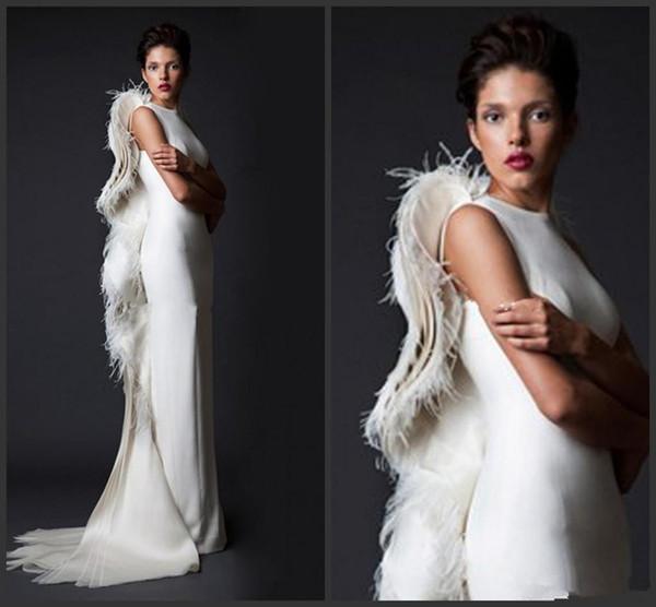 2019 nuevos atractivos de Marfil pluma de noche de las mujeres vestidos formales vaina Volantes de satén árabe desfile de los vestidos de largo Prom ocasión vestido de la vendimia