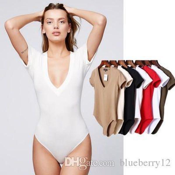 Summer Solid Bodysuit Women Deep V Neck Short Sleeves Sexy Bodysuit Women Top Jumpsuit Romper Onesie Body Feminino