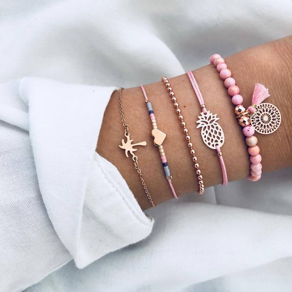 Natural stone beads bracelet sets five suits alloy chain ,Pineapple woven bracelet gold plated alloy jewelry