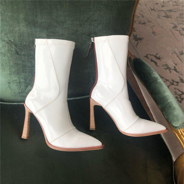 new Fashion luxury designer women shoes red bottom high heels red black white Leather Pointed Toes Pumps Dress shoes size 35-41 B100526W