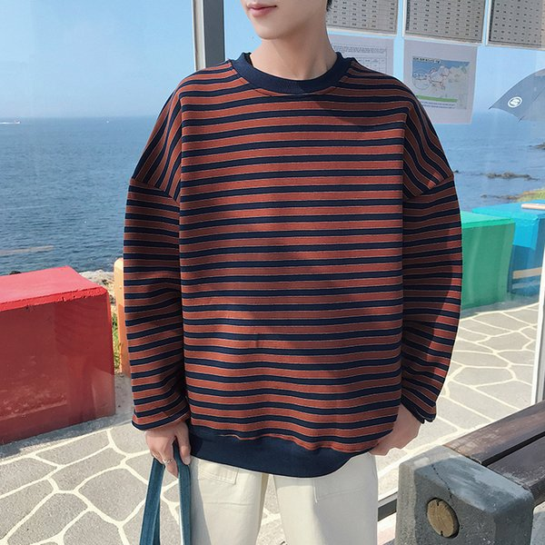 2019 spring and autumn new hong style plus velvet long-sleeved pullover striped casual loose sweatshirt men green red / brown