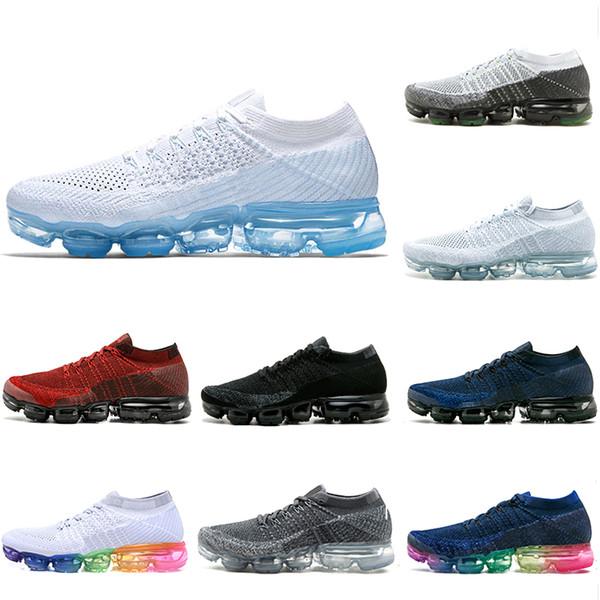 Acquista Nike Air Vapormax Flyknit Shoes Da Uomo Hot Rainbow 1.0 A Buon Mercato Grigio Traspirante Nero Bianco Blu Rosso Sneakers Da Donna Sneakers