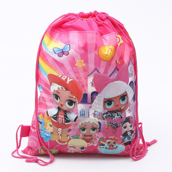 Surprise Drawstring Bag Girls Cartoon Backpack Pink Printed Storage Bags Kids Outdoor Non-woven Pouches A21603