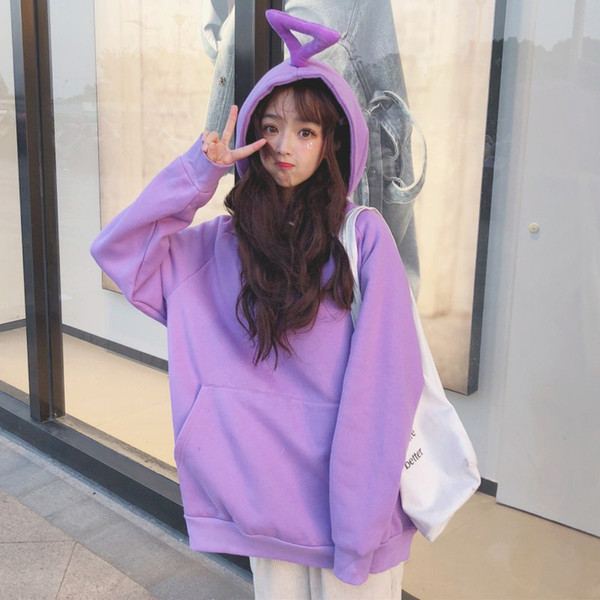 women hood coat pullover Antenna baby super fire sweater jacket female autumn wear Japanese strange girl loose plus velvet hooded shirt