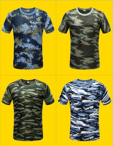 New Camouflage T-shirt Men Breathable Army Tactical Combat T Shirt Dry Camo Camp Tees ACU Green outdoor t-shirt of men